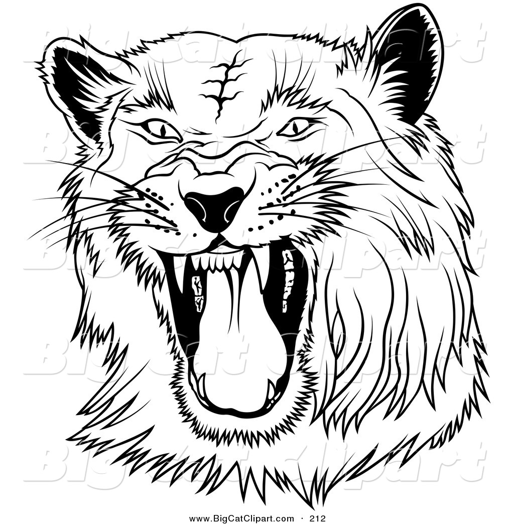 1024x1044 Big Cat Clipart Of A Black And White Hissing Panther On Whiteblack
