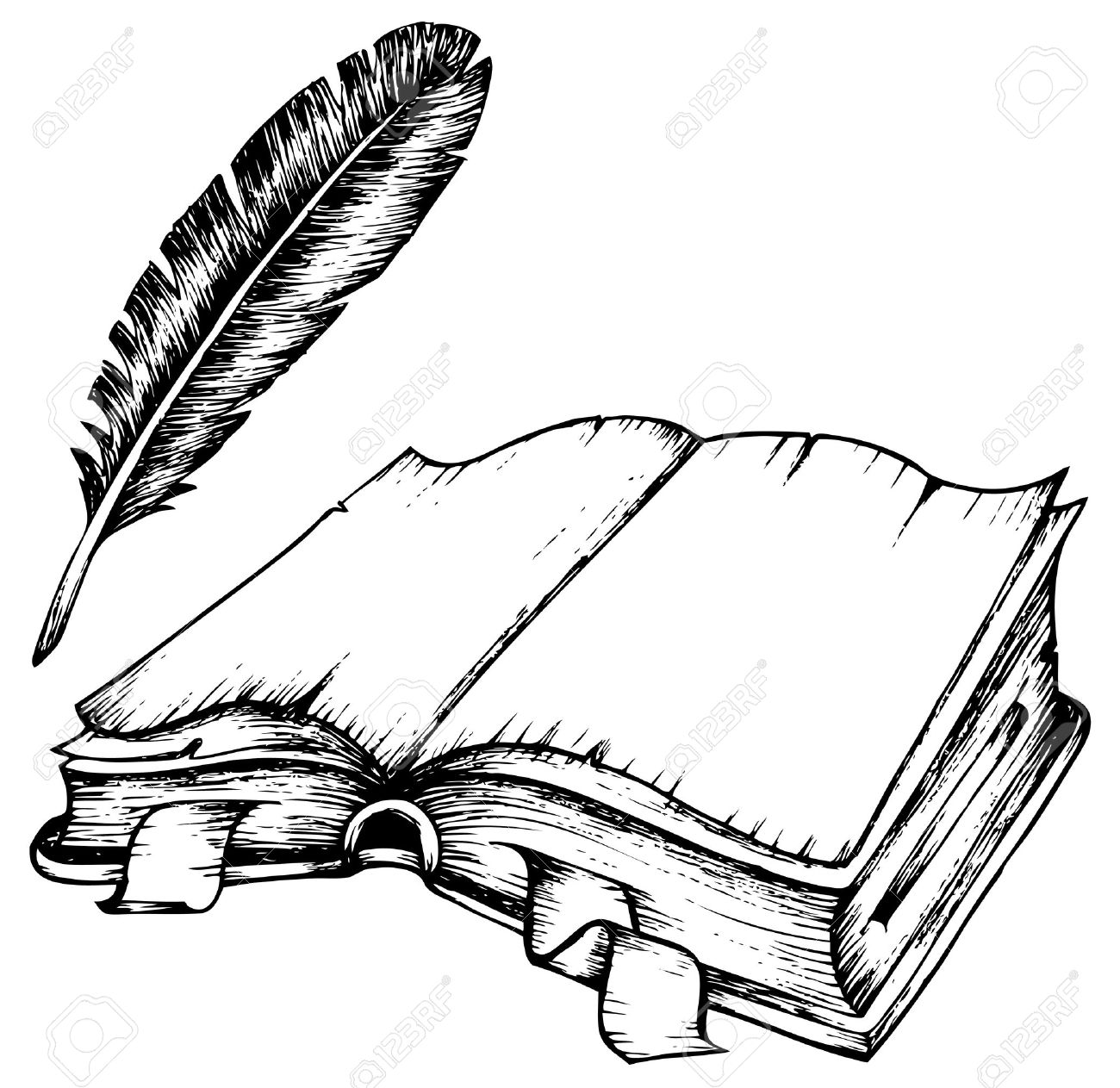1300x1263 Drawing Of Opened Book With Feather Illustration. Royalty Free