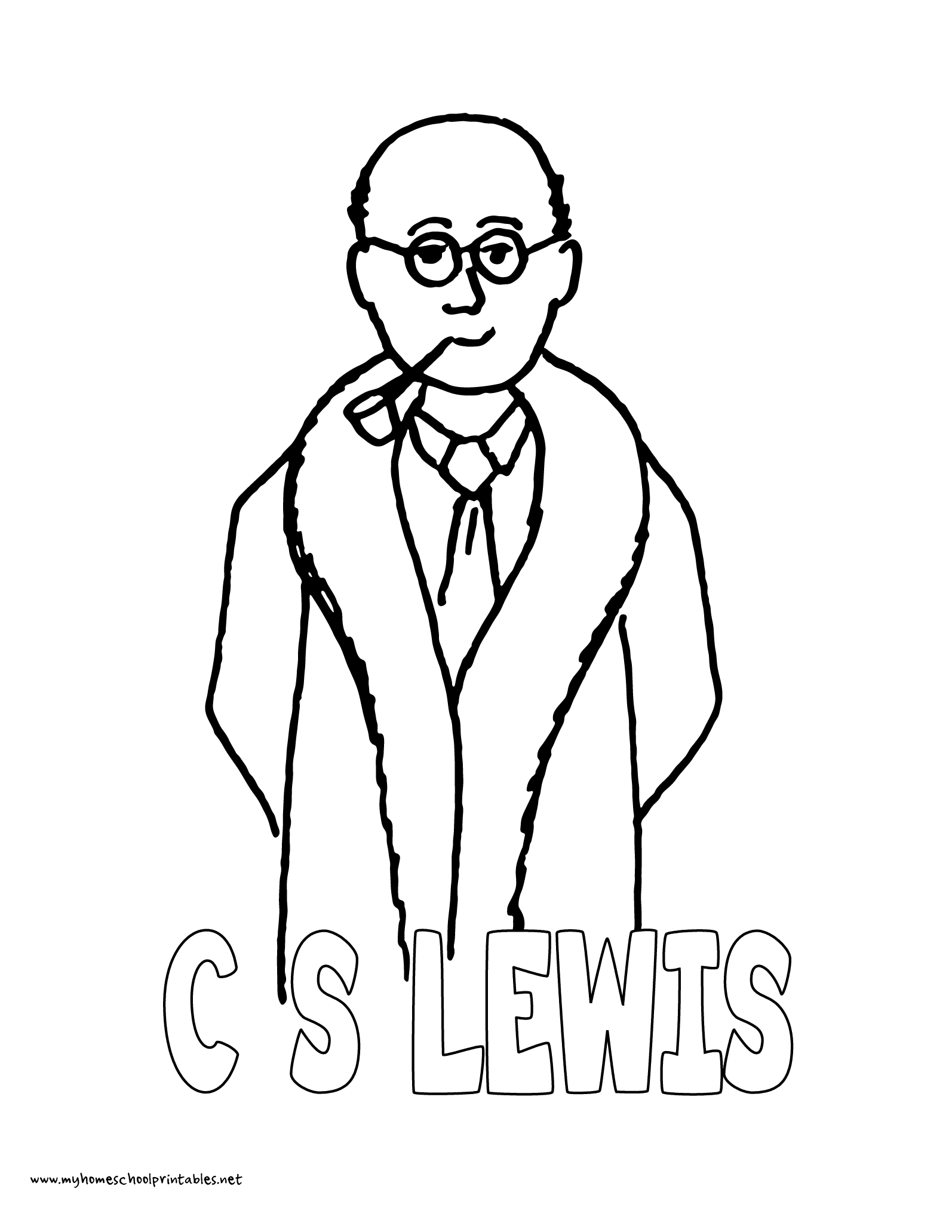 1594x2063 World History Coloring Pages Printables C.s. Lewis With Pipe