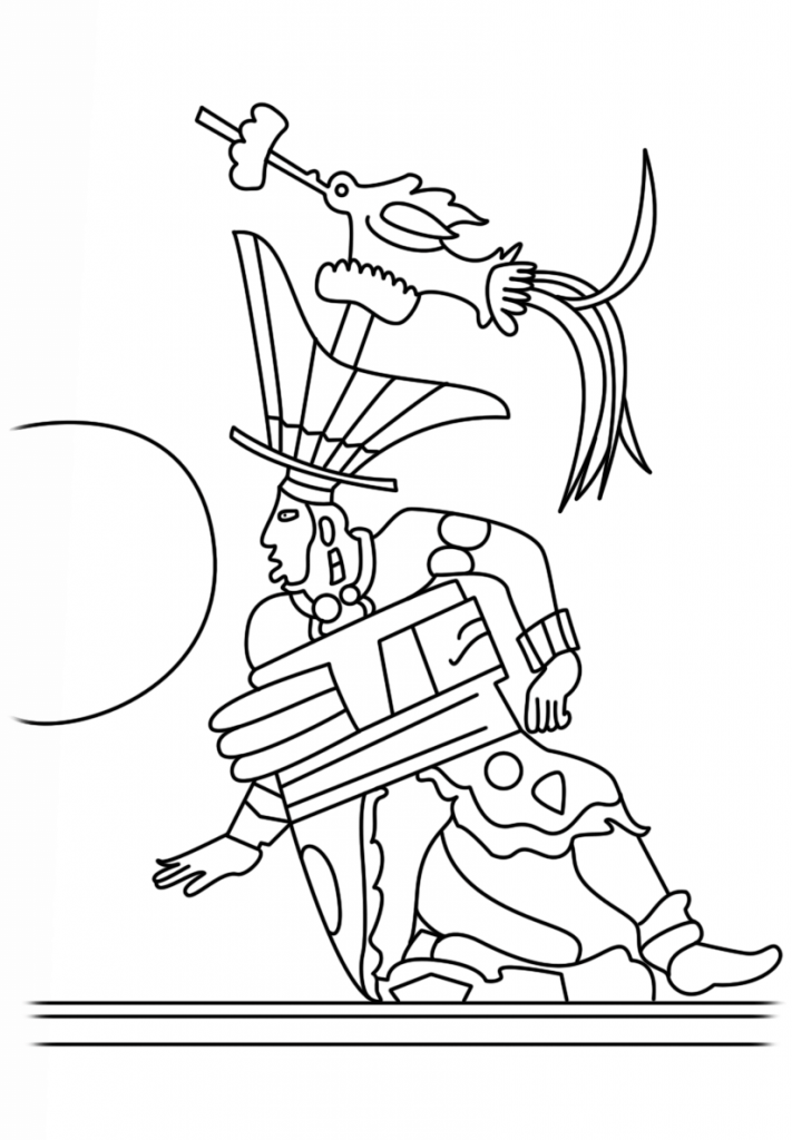 711x1024 Ballplayer Drawing From Maya Civilization Coloring Page