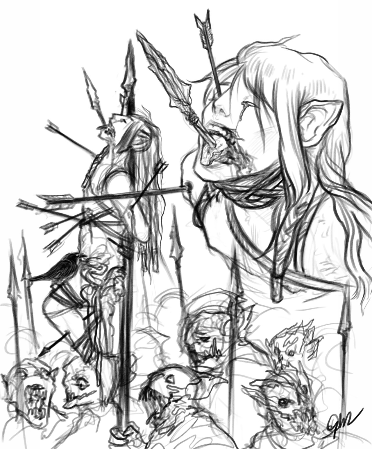 1280x1547 Rough Of Celebrimbor's Corpse As A Banner For Sauron's Army