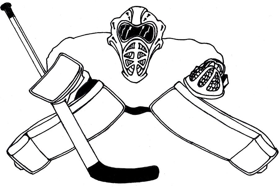 900x604 Goalie Equipment Drawing By Hockey Goalie