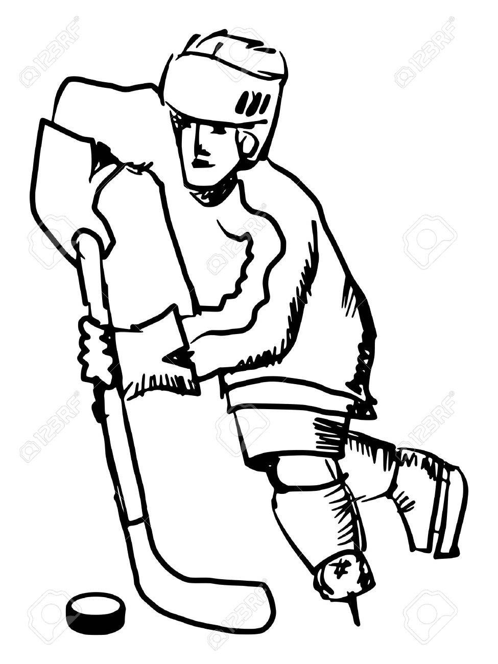 975x1300 Hand Drawn, Sketch Illustration Of Hockey Player Royalty Free