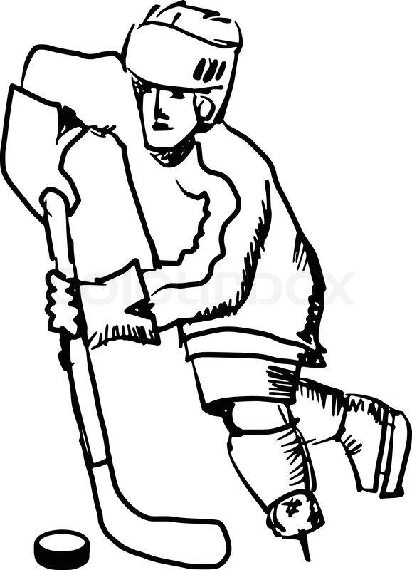 579x800 Hand Drawn, Sketch Illustration Of Hockey Player Stock Vector