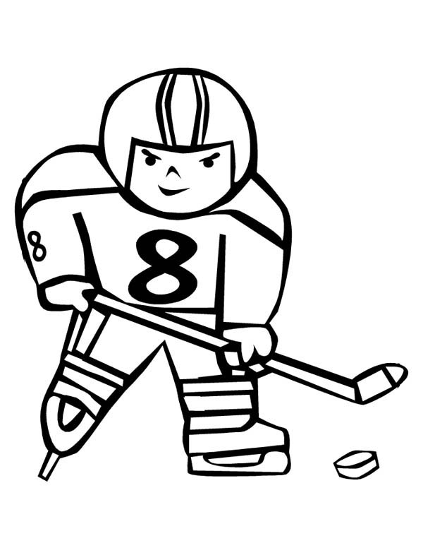 600x776 Hockey Player Trying To Score Coloring Page