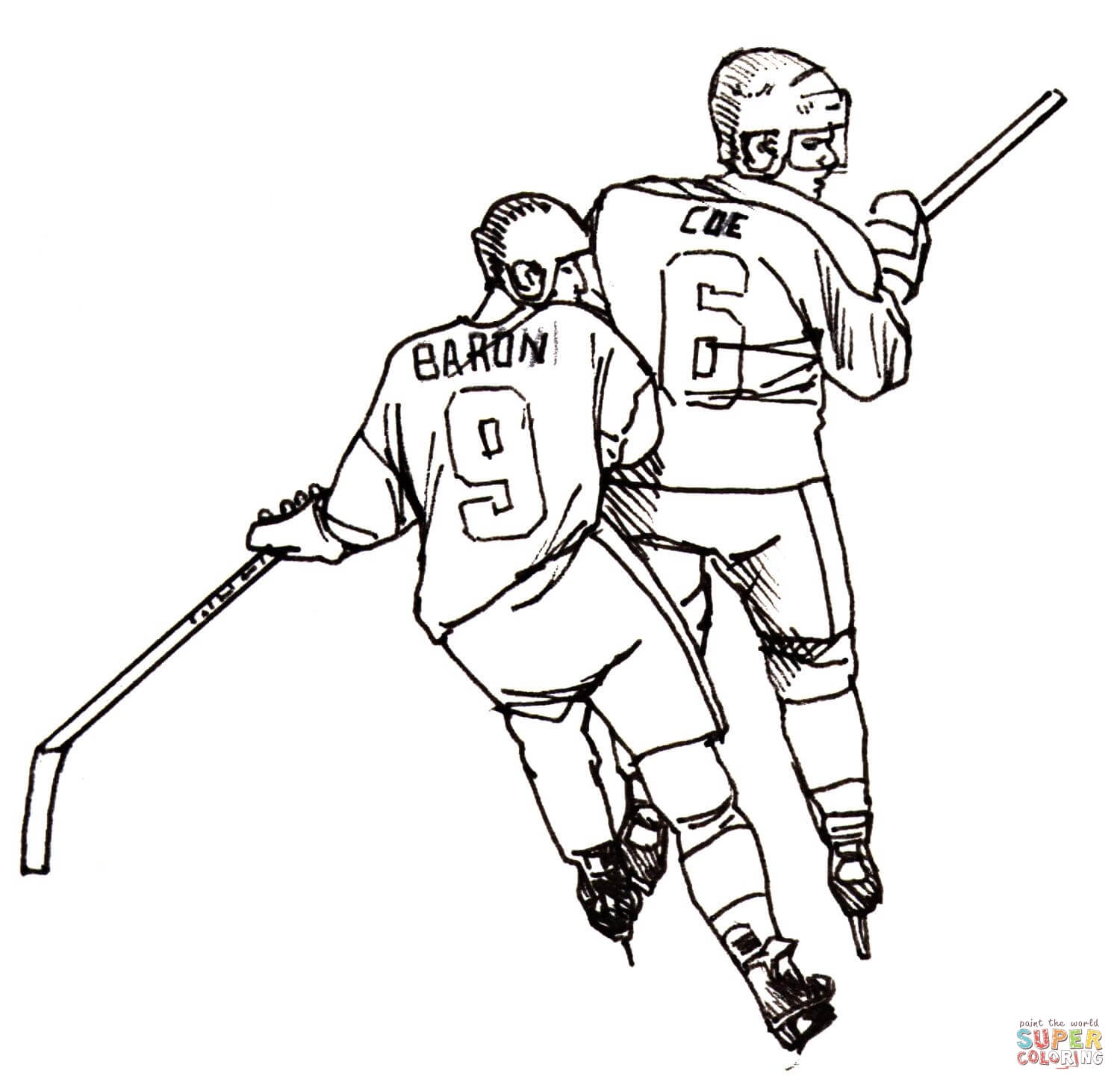 1500x1453 Hockey Players Coloring Page Free Printable Coloring Pages