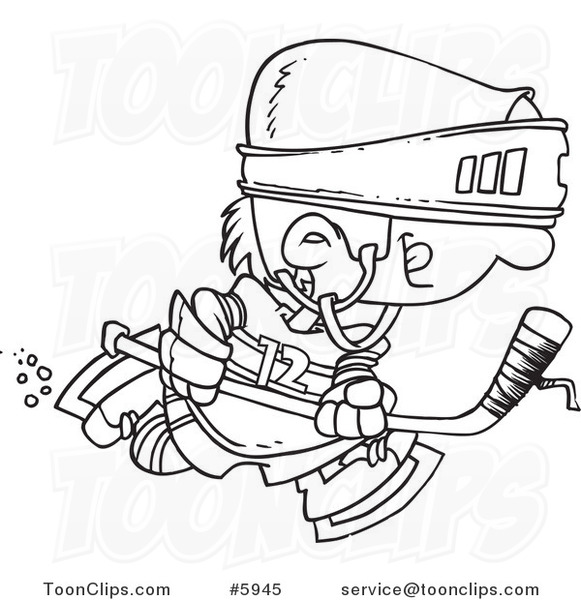581x600 Cartoon Black And White Line Drawing Of A Boy Hockey Player