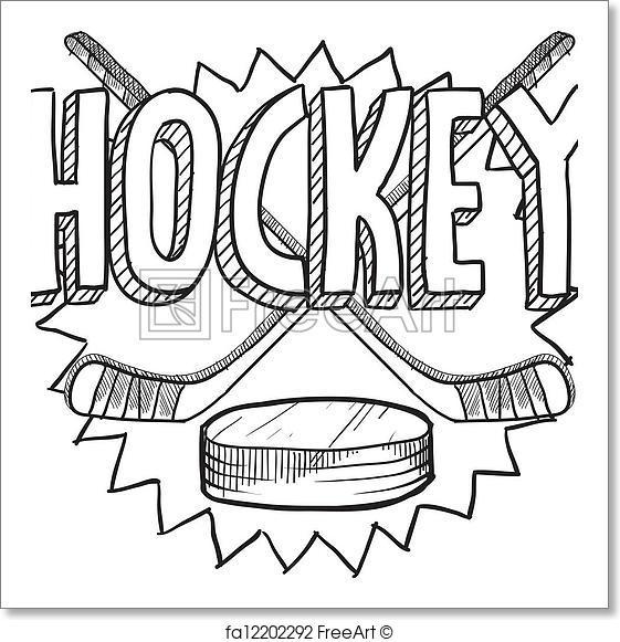 561x581 Free Art Print Of Hockey Sketch. Doodle Style Hockey Illustration