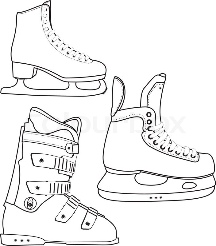 704x800 Contour Of The Sports Lady's And Man's Hockey Skates And Ski Boot