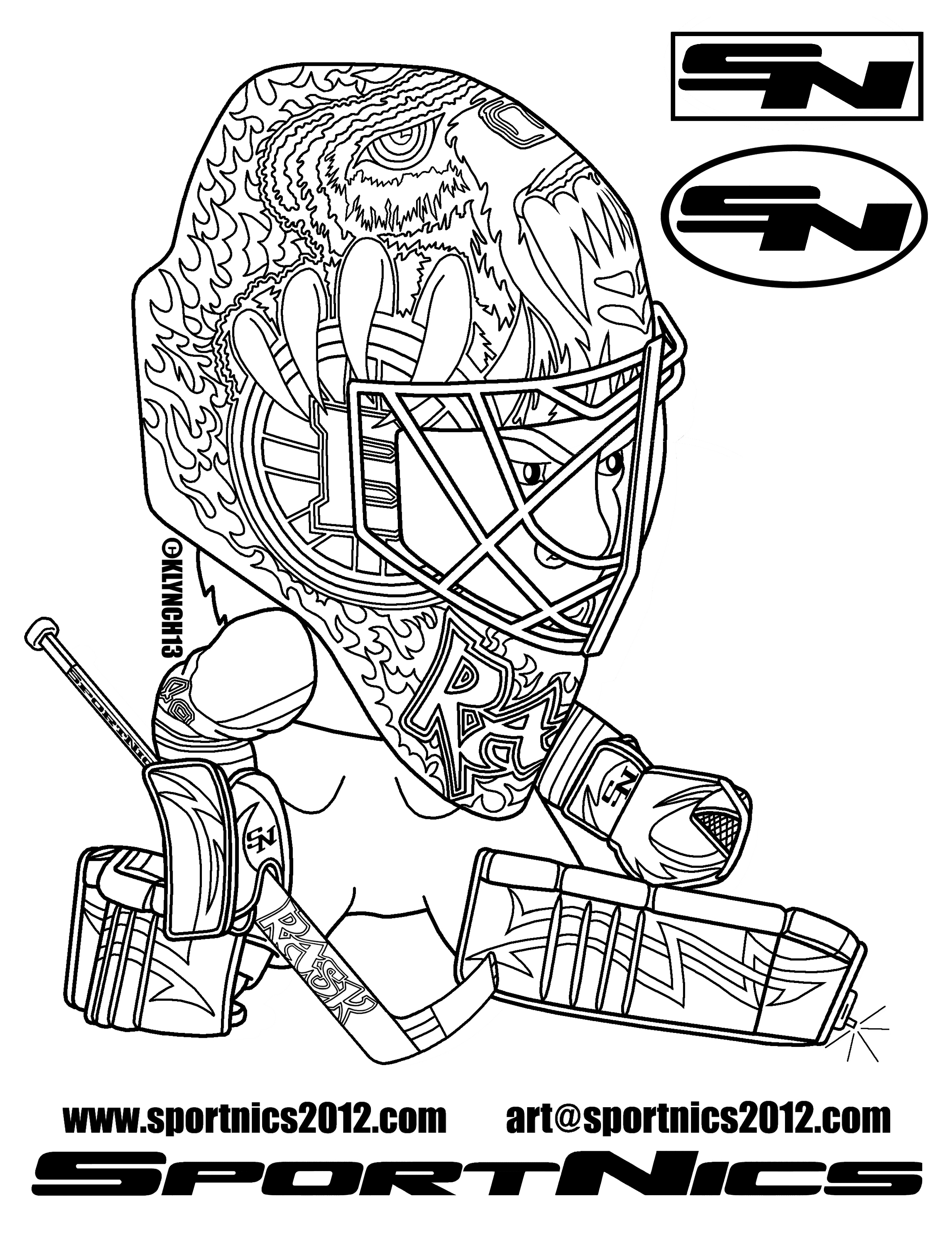 Hockey goalie drawing at free for for Hockey coloring pages printable