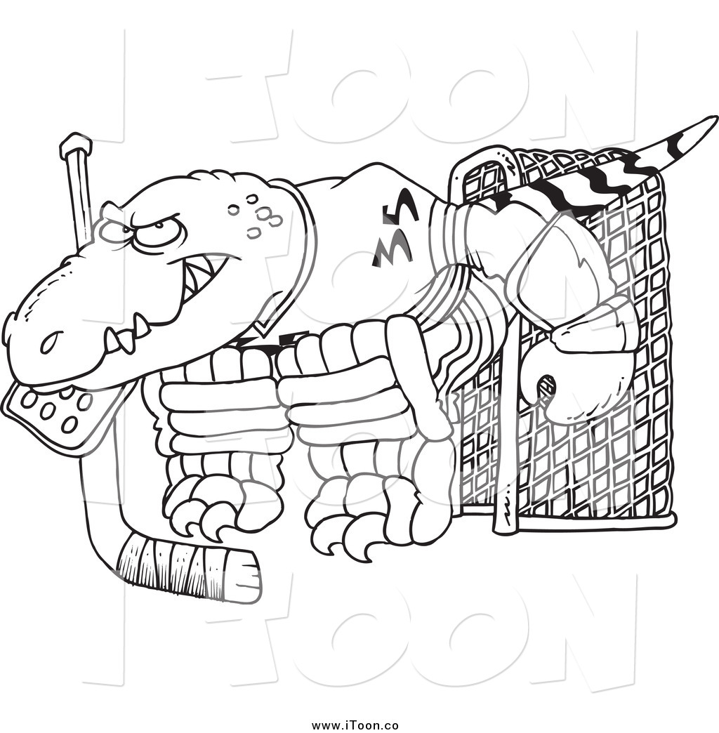 1024x1044 Royalty Free Cartoon Of A Raptor Hockey Goalie In Black And White