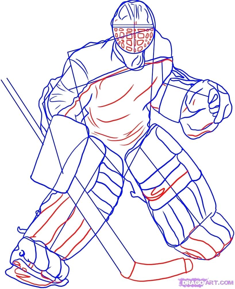 818x1003 Coloring Hockey Goalie Coloring Pages How To Draw A Nhl. Hockey