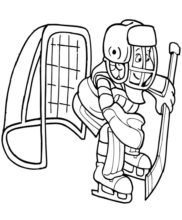 600x723 Hockey Goal Keeper Coloring Page