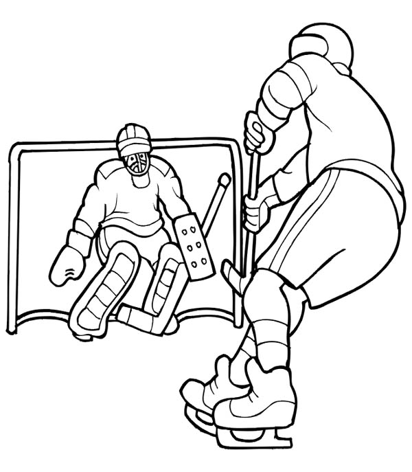 600x687 Hockey Player Solo To Opponent Goal Coloring Page