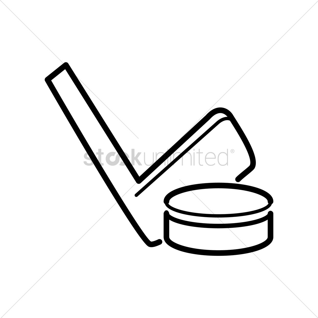 1300x1300 Ice Hockey Stick And Puck Vector Image