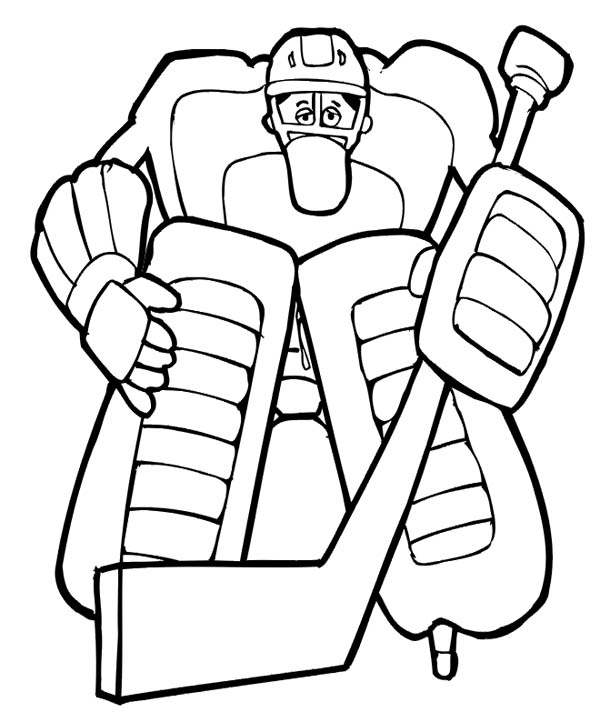 600x722 Awesome Hockey Goal Keeper Coloring Page