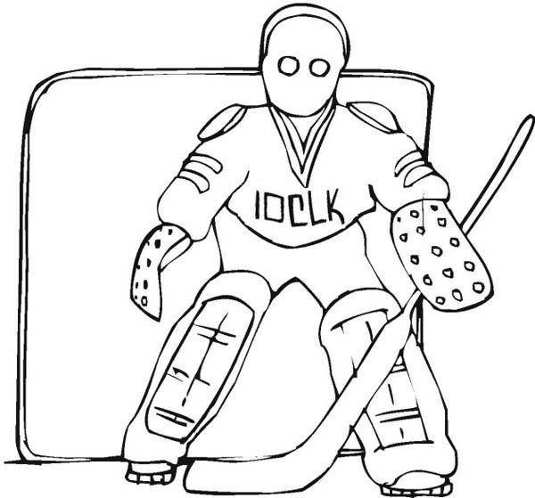 600x559 Awesome Hockey Goal Keeper Player Coloring Page