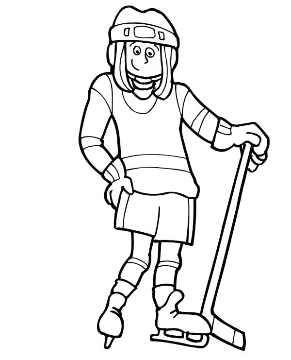 600x741 Hockey Coloring Pages Cute Girl Hockey Player Coloring Page Hockey