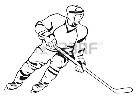450x315 Hockey Player. Vector Linear Silhouette, Isolated On White Royalty