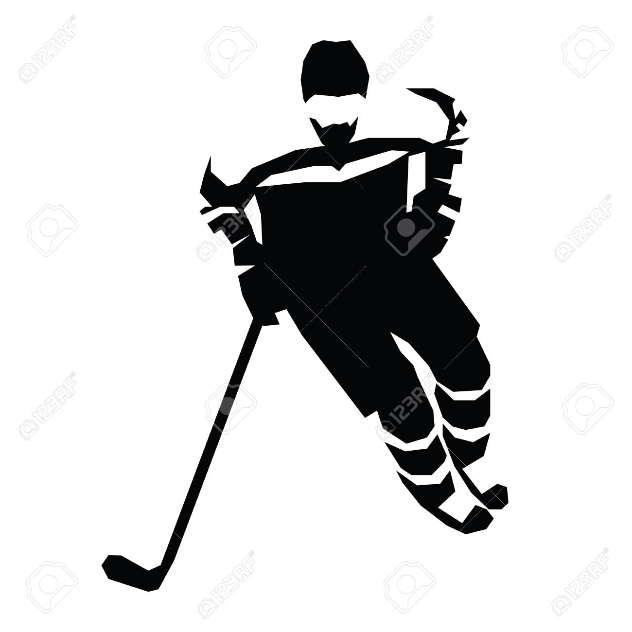 1300x1300 Ice Hockey Flat Vector Illustration. Hockey Player Silhouette