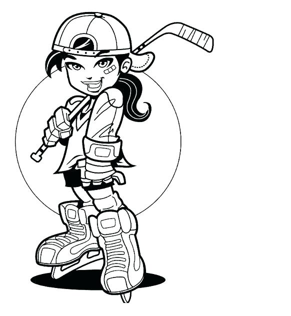 582x632 Hockey Coloring Pages Player Girl Hockey Coloring Pages Astounding