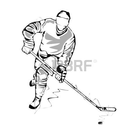450x450 Hockey Player Sketch Royalty Free Cliparts, Vectors, And Stock