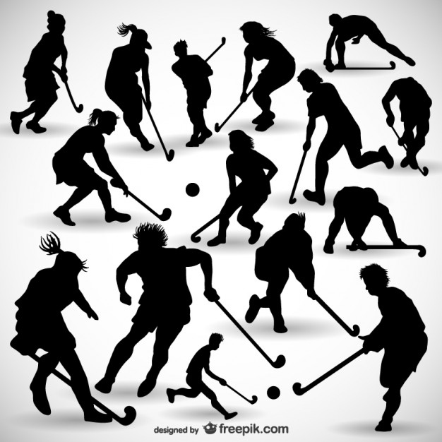 626x626 Hockey Player Silhouettes Pack Vector Free Download