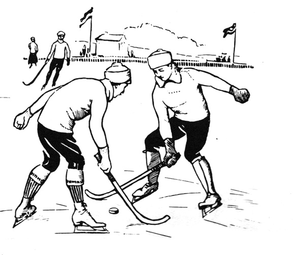 576x502 Bampw Illustration Of Old Time Ice Hockey Players Second Wind