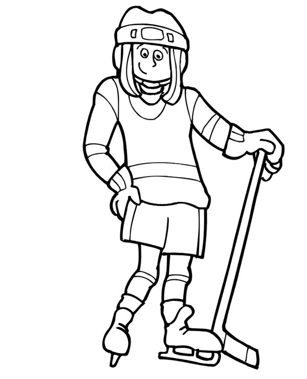 600x741 Cute Girl Hockey Player Coloring Page