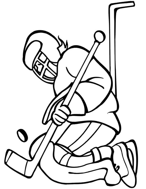 600x776 Hockey Goal Keeper Catch The Puck Coloring Page