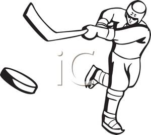 300x267 Hockey Player Hitting The Puck With A Hockey Stick