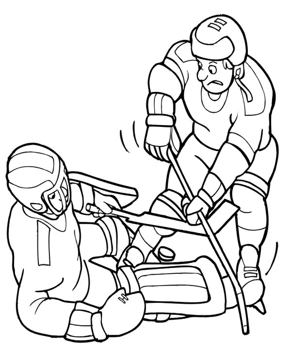 600x730 Hockey Player Try To Get The Puck Back Coloring Page