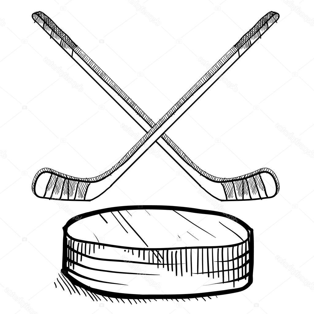 1024x1024 Unique Stock Illustration Hockey Sticks And Puck Sketch Library