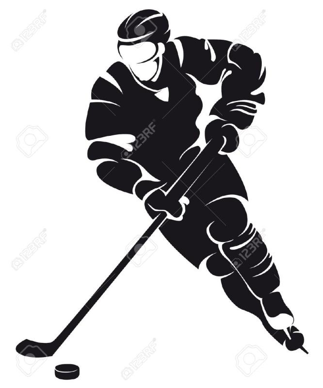 666x800 Hockey Player Clipart Black And White