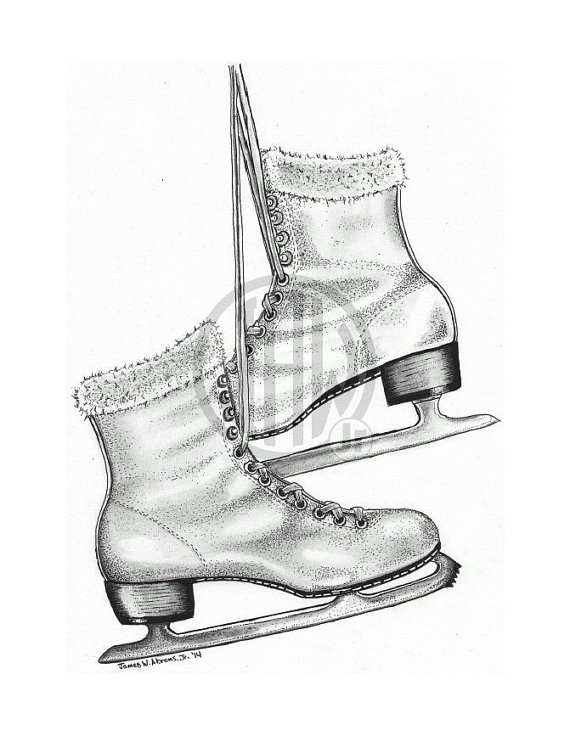 570x736 Ice Skates Pen And Ink Drawing
