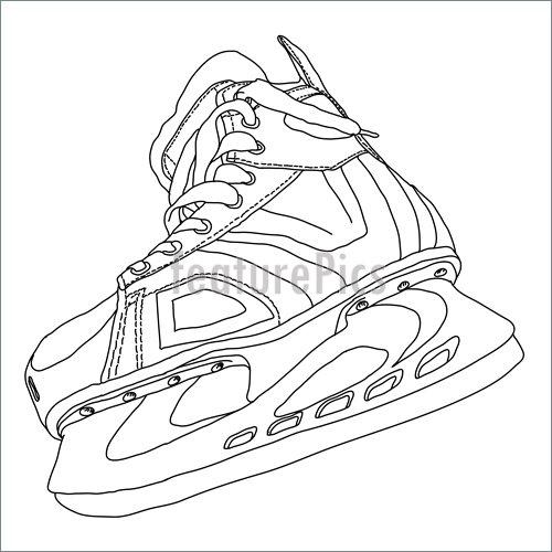500x500 Men's Hockey Skates Drawn By Hand Illustration