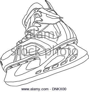 311x320 Men's Hockey Skates Drawn By Hand Stock Photo, Royalty Free Image