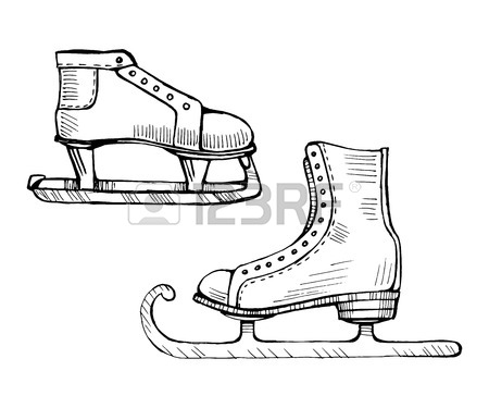 450x375 Old Ice Skates Vector Line Illustration Royalty Free Cliparts
