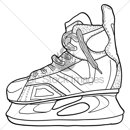 500x500 Sketch Of Hockey Skates. Skates To Play Hockey On Ice, Ve Gl
