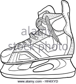 300x329 Sketch Of Hockey Skates. Skates To Play Hockey On Ice, Vector