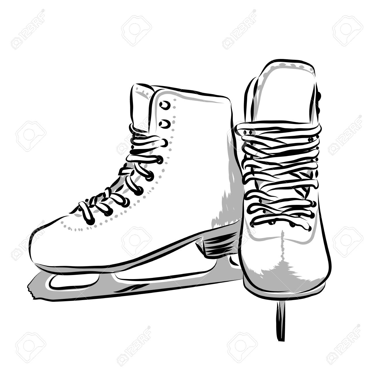 1300x1300 Vector Hand Drawn Icon Winter Objects Skates Royalty Free