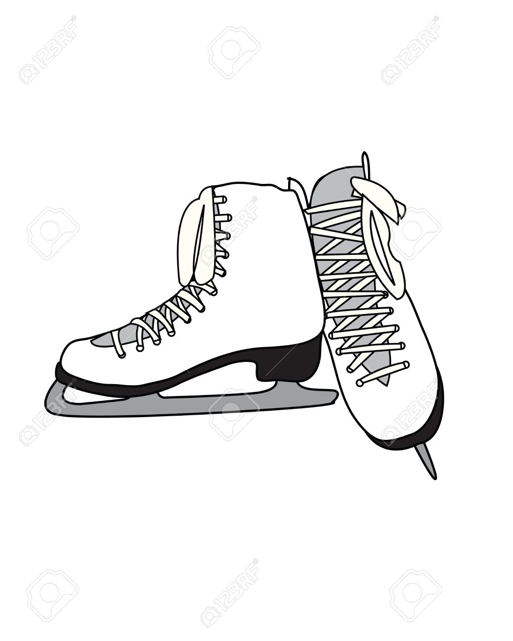1040x1300 White Pair Of Figure Skates Royalty Free Cliparts, Vectors,
