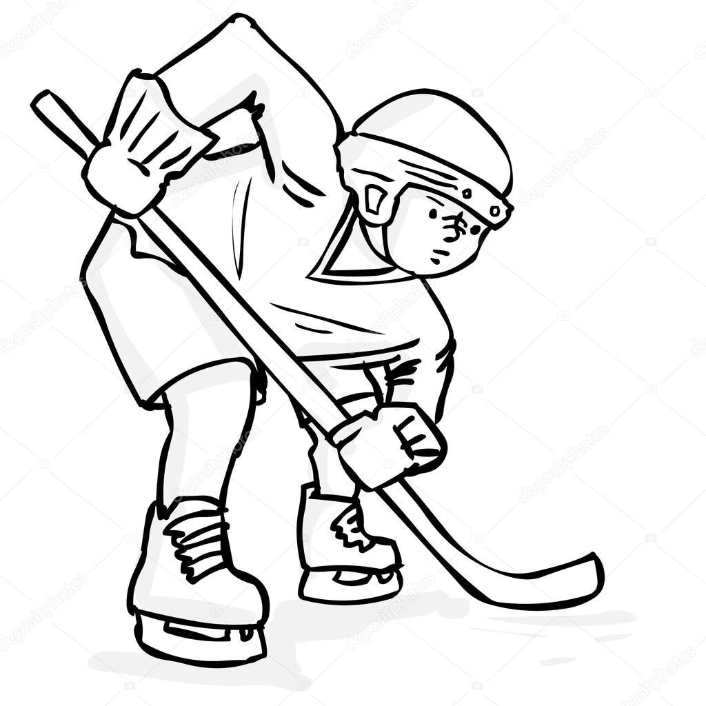 1024x1024 Hand Drawn Ice Hockey Player. Stock Vector Dergriza