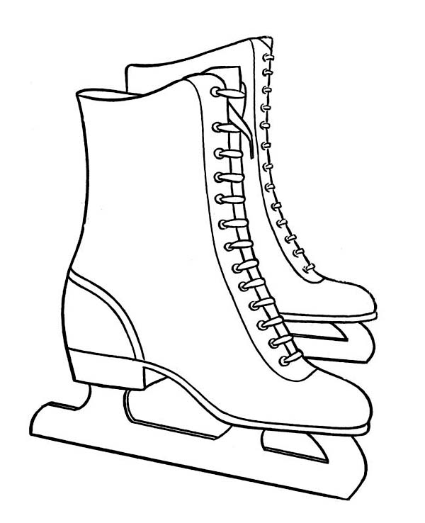 600x738 Pair Of Nice Winter Season Skate Boots Coloring Page