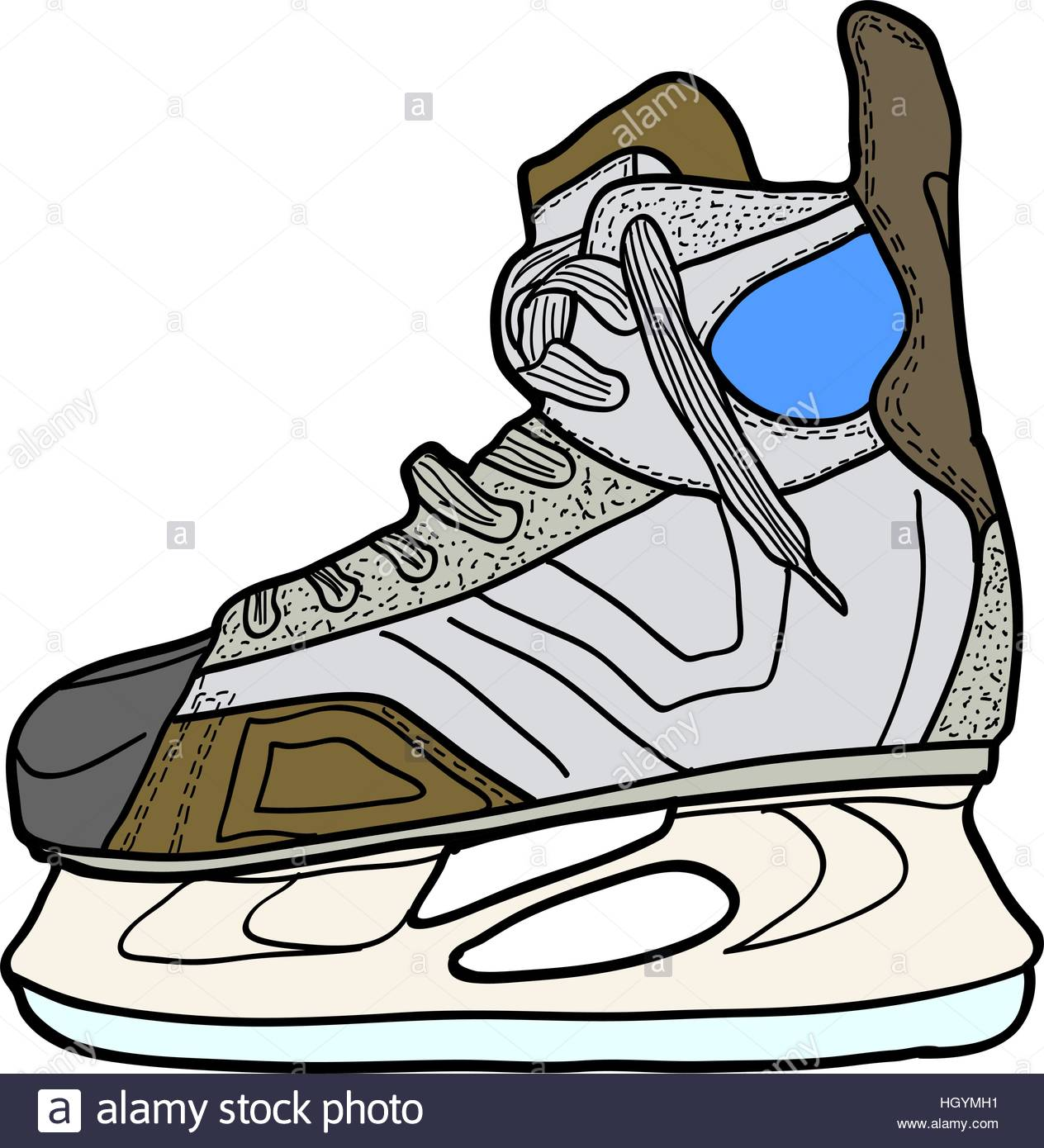 1264x1390 Sketch Of Hockey Skates. Skates To Play Hockey On Ice, Vector