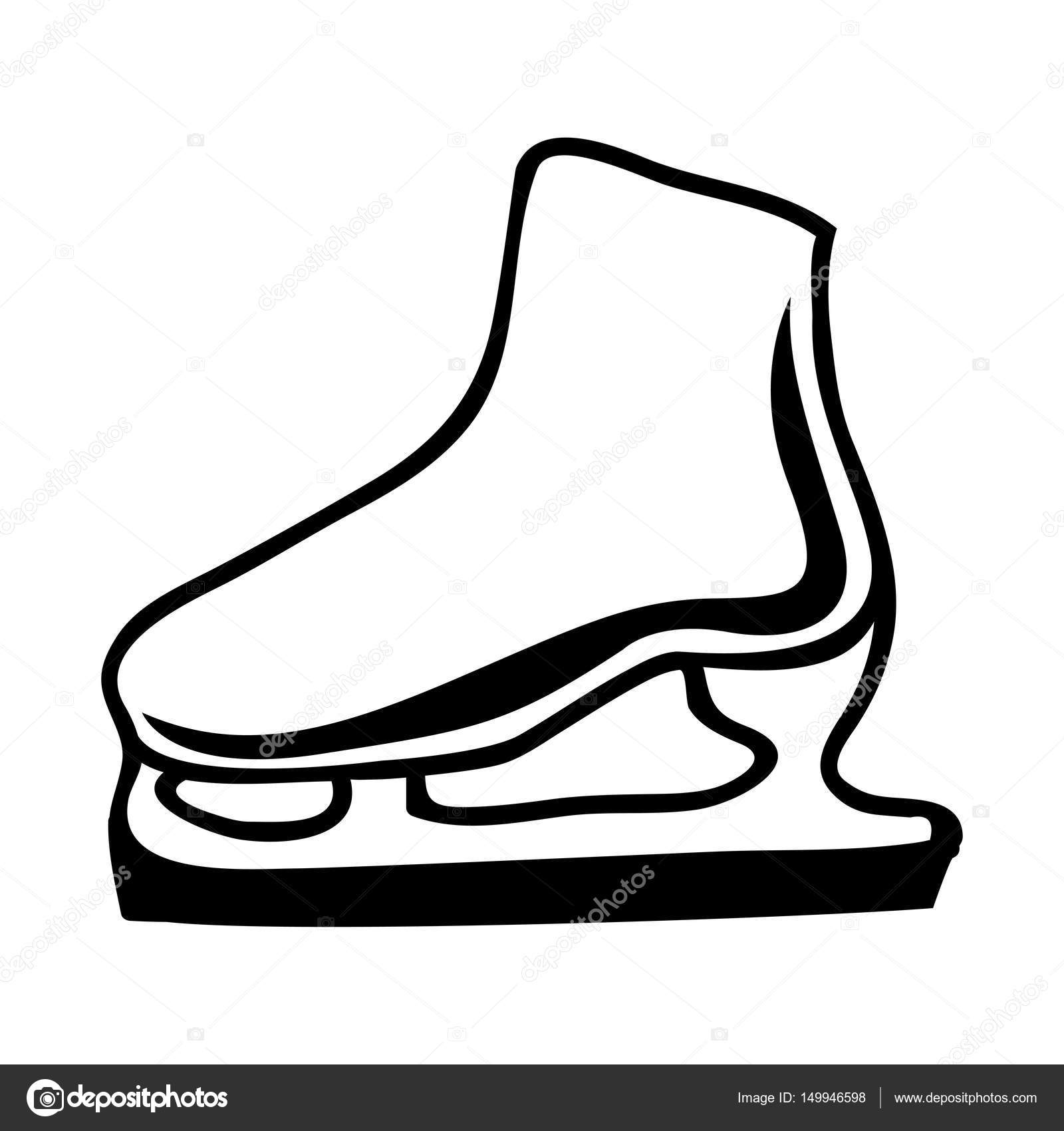 1600x1700 Black Silhouette Ice Roller Skate Icon Stock Vector