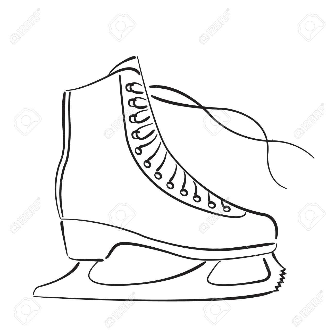 1300x1300 Elegant Sketched Ice Skates Isolated On White Background. Ice