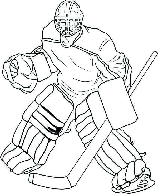 600x736 Hockey Goalie Coloring Pages Stick Puck On Hockey Player Coloring
