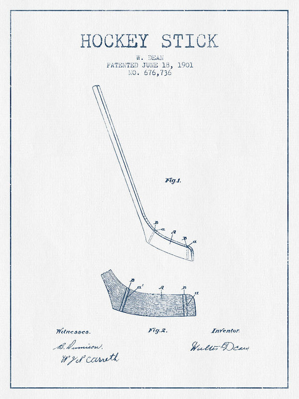 600x800 Hockey Stick Patent Drawing From 1901