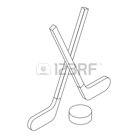 450x450 Hockey Sticks And Puck Vector Icon In Golden Circle, Cartoon